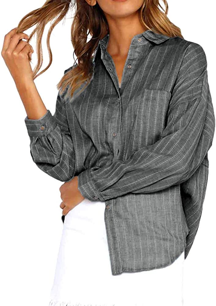 YEBIRAL Camisetas Mujer Manga Larga, Casual Suelto Elegantes Rayas Cuello de Solapa con Botones Camiseta Túnica Tops Shirts Pullover Blusas para Mujer Elegantes(XL, Negro): Amazon.es: Ropa y accesorios