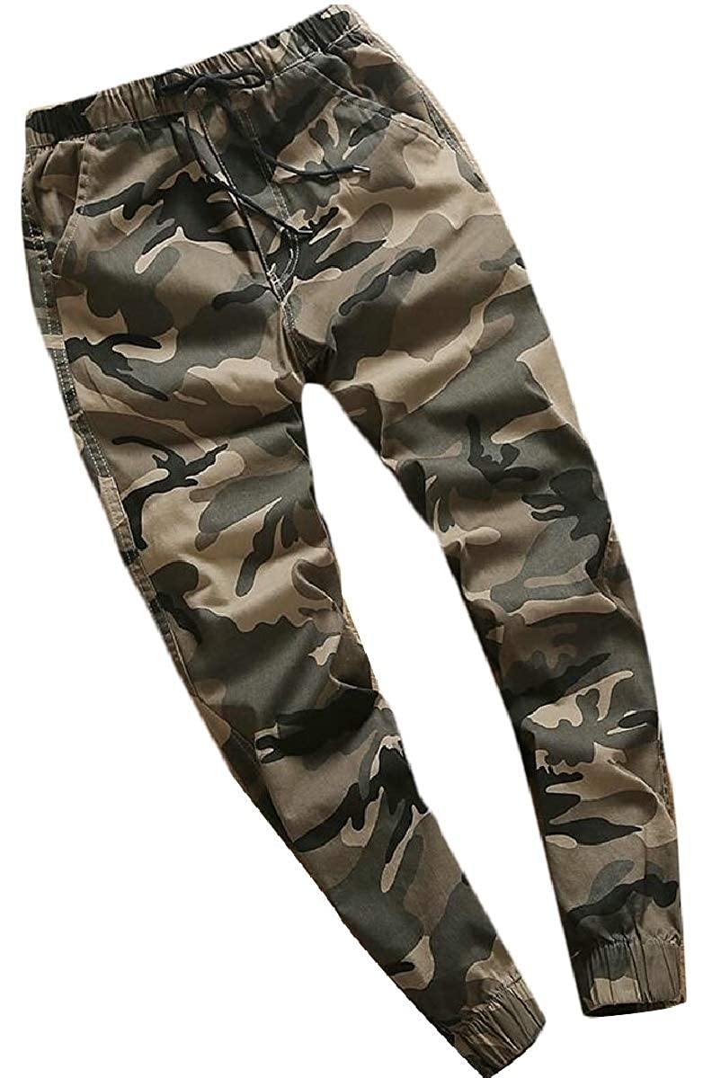 YIhujiuben Mens Casual Camouflage Baggy Flat-Front Sport Running Chino Pants