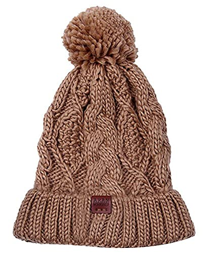 Aran Workshop Warm Winter Sand Brown Diamond Cable Bobble Beanie Hat