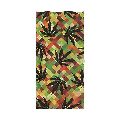 Ahomy Toalla de baño de cáñamo, Hojas de Marihuana, Suave, Absorbente, cómoda