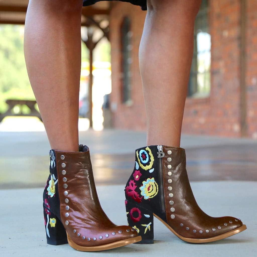Oksea Damen Stiefeletten Damen Stiefeletten Bunt Schuhe Damen Herbst Leder Stiefel Rom Bedruckt Retro Handgemachtes Rei/ßverschluss Schuhe Block Ferse rutschfest Bequeme Stiefeletten mit Absatz