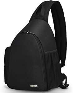 CADeN Camera Bag Sling Backpack, Camera Case Backpack with Tripod Holder for DSLR/SLR Mirrorless Cameras (Canon Nikon Sony Pentax) Black