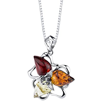 Baltic Amber Star Leaf Pendant Necklace Sterling Silver Multiple Colors