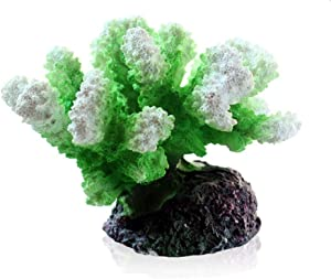 Danmu 1pc Polyresin Coral Ornaments, Aquarium Coral Decor for Fish Tank Aquarium Decoration (Green)