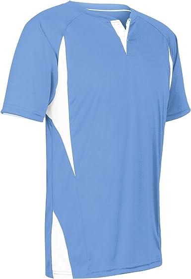 White,Grey Adult Medium CHAMPRO Wild Card 2 Button Polyester Baseball//Softball Jersey
