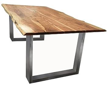 Baumkanten-Tisch Salito 120x80 cm   Esszimmertisch aus massiver Akazie    Baum-Tisch Natur   Metall U-Gestell in Silber