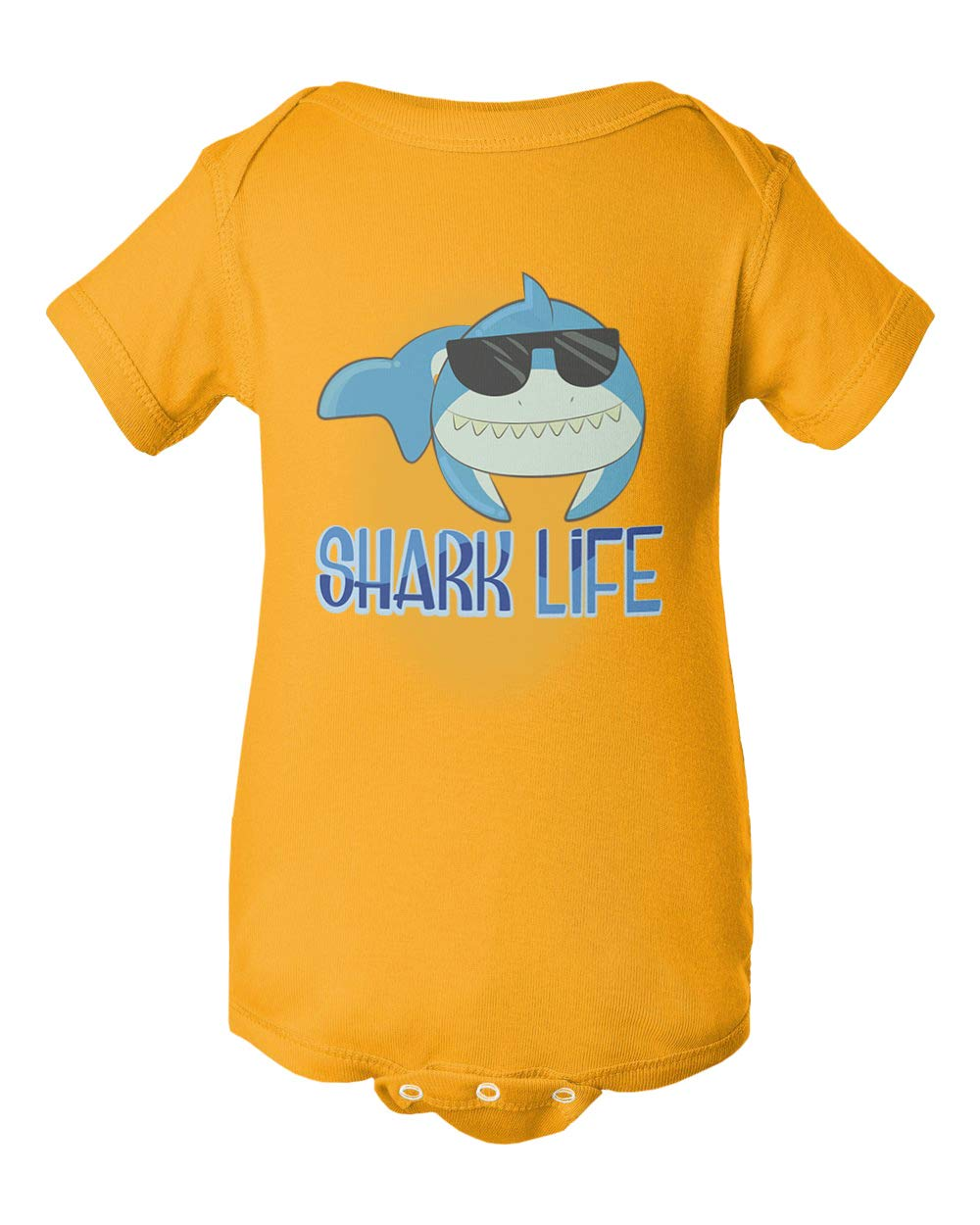 Cool Shark Shark Sunglasses Short Sleeve Summer Romper Bodysuit (Gold,6M) by Societee