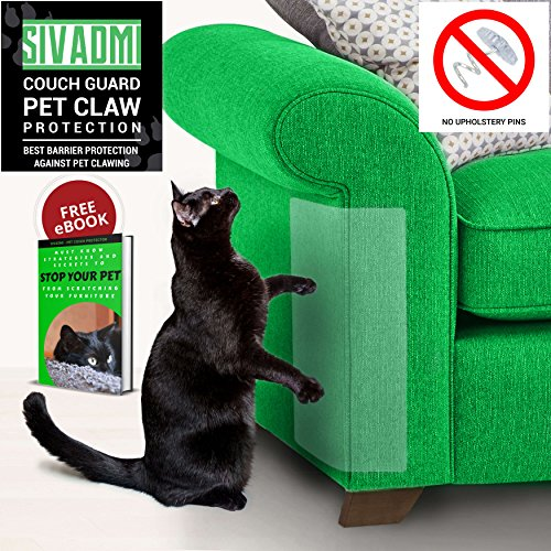 SIVADMI Pet Couch Protector – 2 Clear Vinyl Pet Cat Dog Claw Guards Self-Adhesive Pads – Discreet Cat Scratch Furniture Protector, Cover to Protect The Upholstery, Walls, Mattress, Car Seat, Door