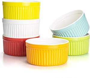 Foraineam Set of 6 Pcs 8 oz Porcelain Souffle Dishes, 6 Colors Oven Safe Ramekins Bakeware Set Dessert Custard Baking Dishes Cups for Souffle, Creme Brulee and Ice Cream