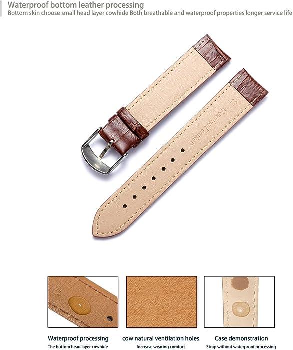 Wristwatch Bands armbanduhren|silberne Uhr Beautiful Echtes Leder Uhrenarmband Kalbsleder Strap Ersatz Jewelry & Watches