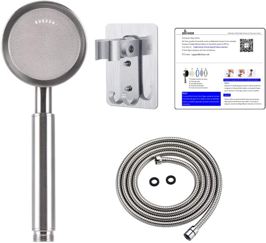 Olliwon Pommeau de douche haute pression avec tuyau 1,5 m et support en acier inoxydable avec fonction /économie deau