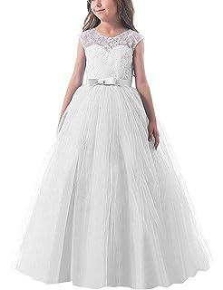 5b6f772dae19 NNJXD Ragazze Pizzo Applique Ricamato Hollow Wedding Bridesmaid Ball Gown  Pageant Comunione Cerimonia Festa di Compleanno