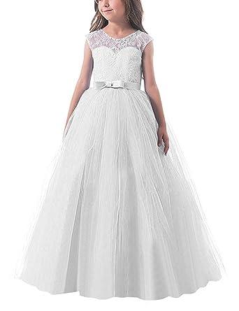 NNJXD Ragazze Pizzo Applique Ricamato Hollow Wedding Bridesmaid Ball Gown  Pageant Comunione Cerimonia Festa di Compleanno Abiti Principessa   Amazon.it  ... 0e02ed65a1c