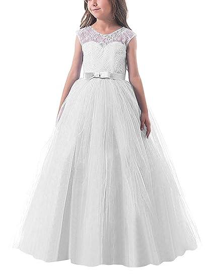 NNJXD Ragazze Pizzo Applique Ricamato Hollow Wedding Bridesmaid Ball Gown  Pageant Comunione Cerimonia Festa di Compleanno Abiti Principessa   Amazon.it  ... 8064aeb7c1d