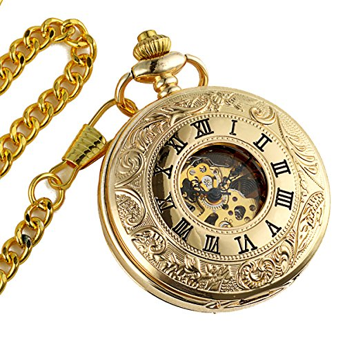 ManChDa Double Cover Roman Numerals Dial Golden Hand Wind Skeleton Mens Women Pocket Watch Gift by ManChDa (Image #1)