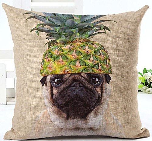 Pineapple Fruit Hat Pug pet dog Throw Pillow Cover Cushion Case Cotton Linen Material Decorative 18 Square by FELENIW
