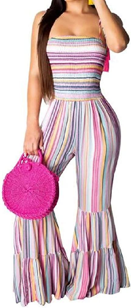 pipigo Womens Bell Bottom Pants Spaghetti Strap Printed Long Rompers Jumpsuits