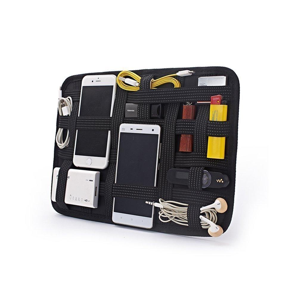 MIMIU バッグインバッグ A4 サイズ PC周辺 小物 収納ケース かばん中身 整理グッズ 固定 ゴム バンド クリア 透明 おしゃれ ガジェットバッグ トラベル 旅行 出張用 インナーバッグ 背面 ポケット付き
