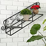 3-Tier Metal Scrollwork Design Wall Mounted Staircase Plant Rack, Display Floating Shelves Review