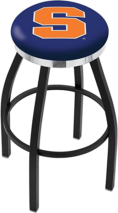 30 L8B2C Black Wrinkle Syracuse Swivel Bar Stool with Chrome Accent Ring by The Holland Bar Stool Company