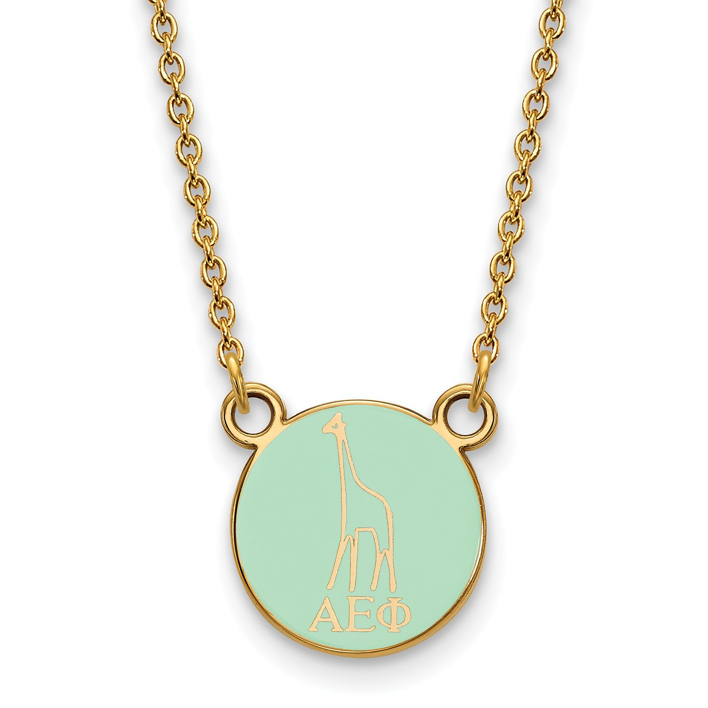 Logoart Sterling Silver Gp Alpha Epsilon Phi Extra Small Enamel Pendant Necklace