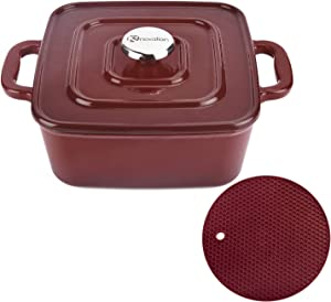 Kinovation Dutch Oven, 3 Quart Enamel Coated Pre-seasoned Interior Cast Iron Square Cookware Pot with Lid & Silicone Mat for Induction, Gas, Ceramic Glass, Electric Stovetop