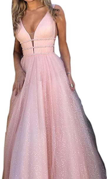 f1d49610e261 Generic Women s Sexy Deep V Neck Chiffon Boho Long Maxi Party Dress Pink XS