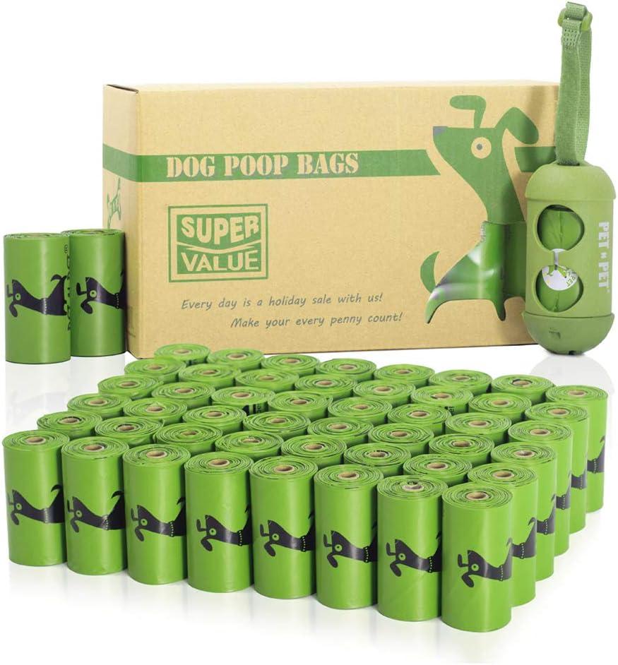 PET N Pet Poop Bags 720 bolsas verdes para perros con caca de perro con 1 dispensador de bolsas biobasadas para perros grandes sin perfume estándar y aditivo EPI