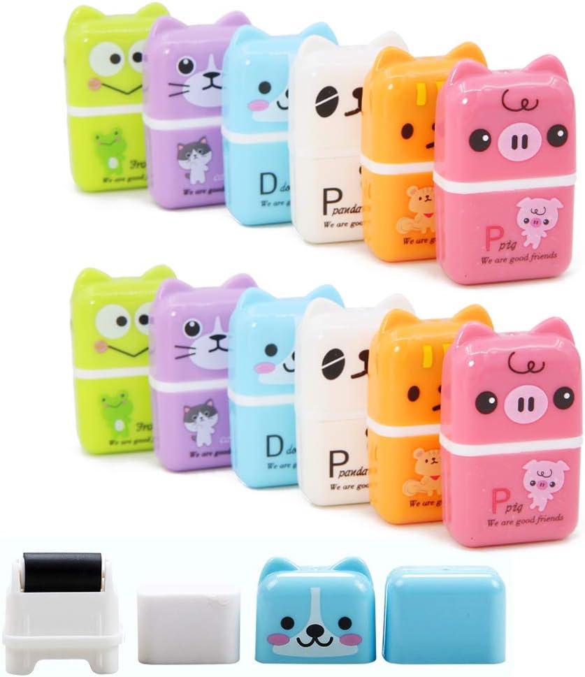 fournitures scolaires Lot de 12 gommes /à crayons color/ées sur le th/ème des animaux de dessin anim/é gommes en caoutchouc pour enfants fournitures de bureau