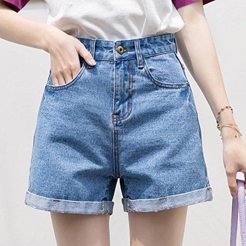 Pantaloni Vita Lightblue di Corti Alta Chiaro Bicchierini Vita Pantaloni Alta del Estate della della dei Spiaggia della Blu Pantaloni Ricciolo dei Donne dei delle gTwZqq8