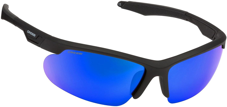 Cressi Speed Sonnenbrille, Schwarz/Verspiegelt Linsen Blau, One Size