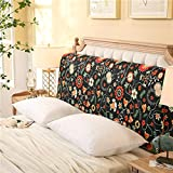 YXCSELL Headboard 200cm Black Print (Chasing Love) Triangle Cushion Filled Soft Wedge Cushion Bed Backrest Positioning Support Reading Pillow Home Office Lumbar Pad