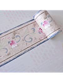 SimpleLife4U Retro Floral Wallpaper Border Self Adhesive Wall Covering Borders  Kitchen Bathroom Bedroom Tiles Decor