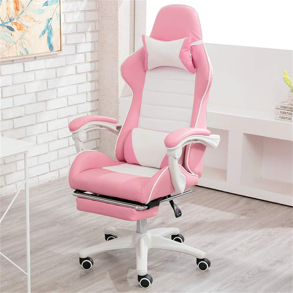 Amazon.com: Ergonomic Computer Gaming Home Office Chair with Footrest,Adjustable Reclining High-Back PU Leather Swivel Video Game Chair with Headrest and ...