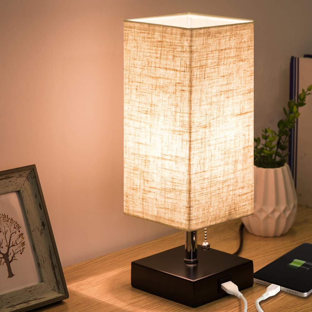ZEEFO USB Table Lamp, Modern Design Bedside Table Lamps with USB Charging Port, Wooden Black Base and Fabric Shade Nightstand Table Lamps is Perfect for Bedroom, Living Room, Study Room, Guest Room