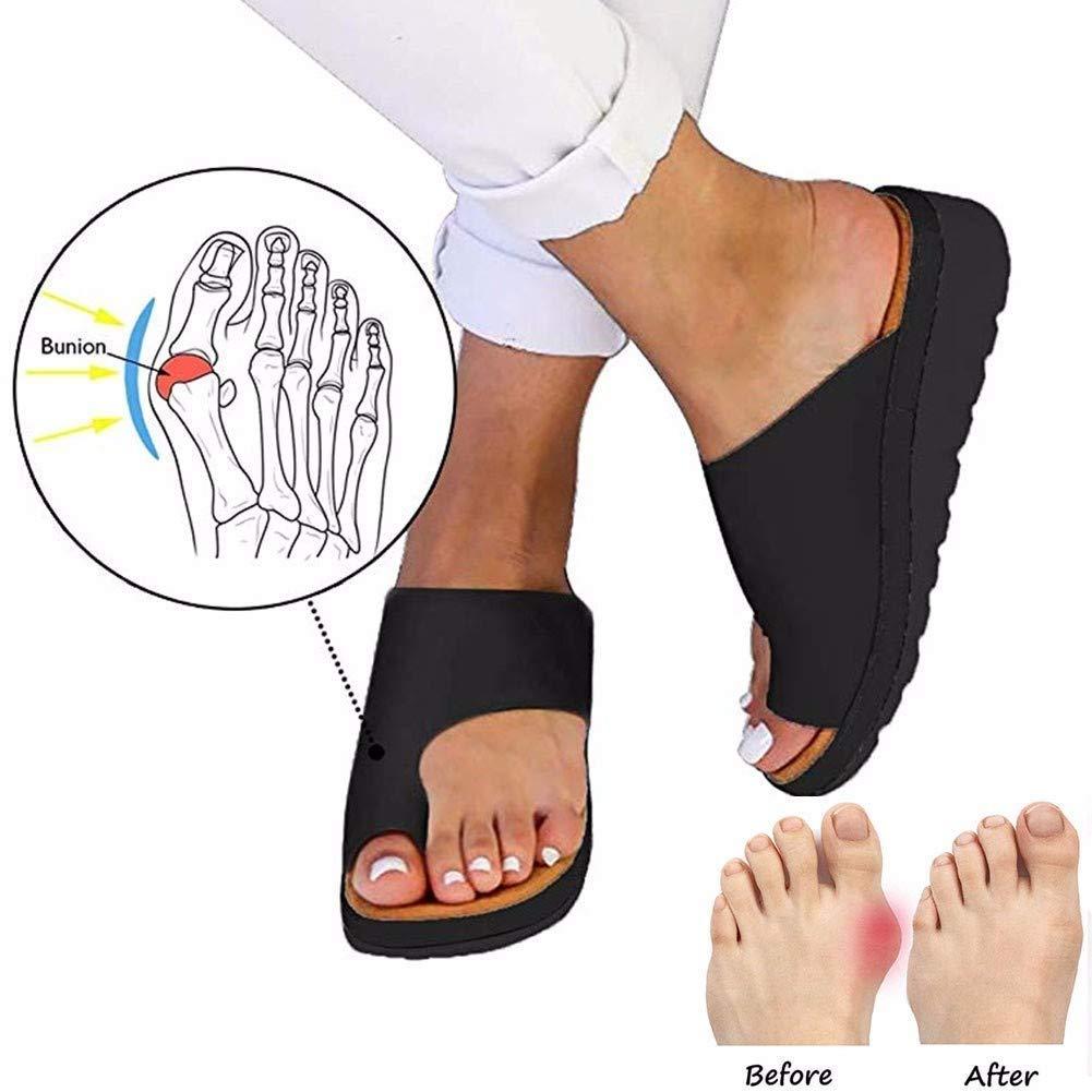 JZLXA Feet Corrector Sandals Hallux Valgus Correction Ladies Casual Soft Bunion Splint Slippers Pain Relief,38
