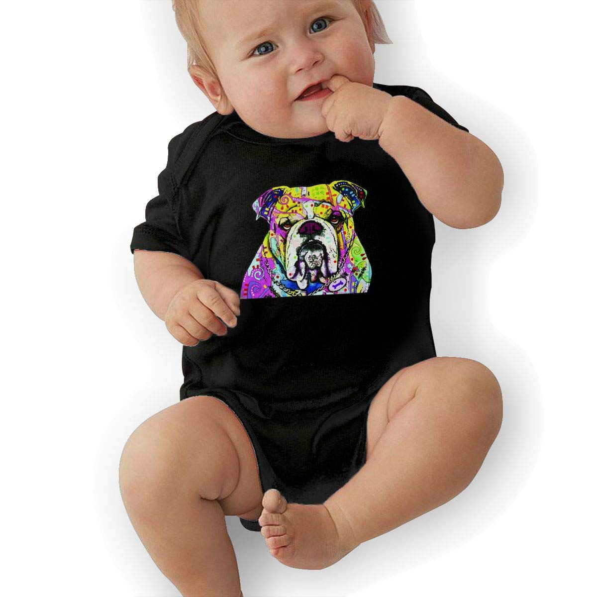 HappyLifea Bulldog Baby Pajamas Bodysuits Clothes Onesies Jumpsuits Outfits Black