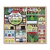 Melissa & Doug Wooden Town Play Set with Storage Tray (32 Piece)