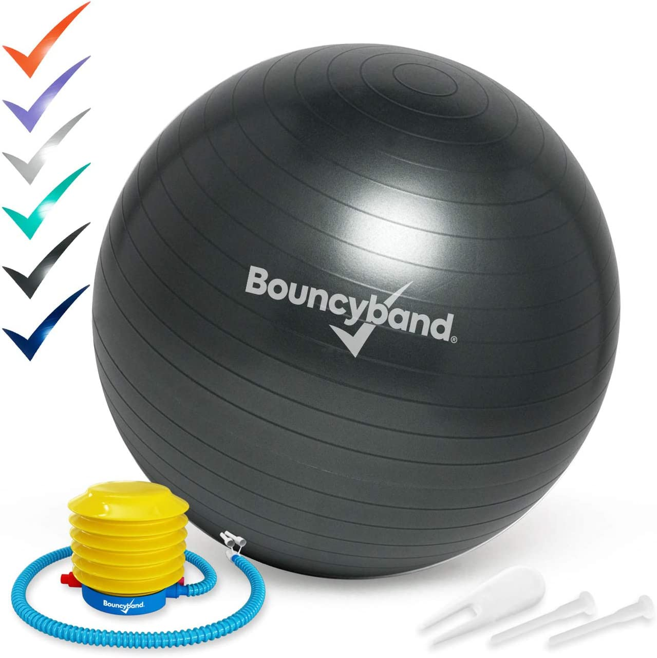 Balance Ball Small, Dark Gray No-Roll Weighted Seat is a Flexible Chair for School Office or Home