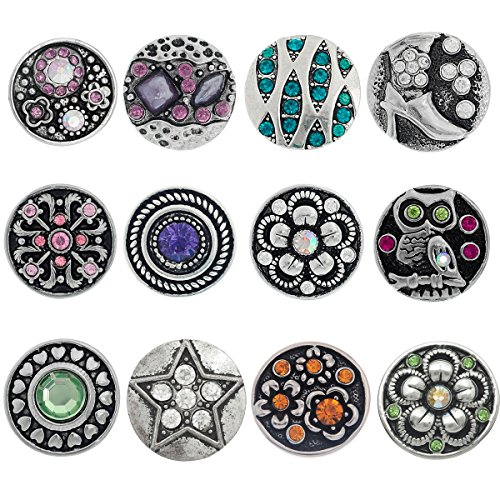 Souarts Mixed Rhinestone Snap Button Jewelry Charms Pack of (Interchangeable Necklace)
