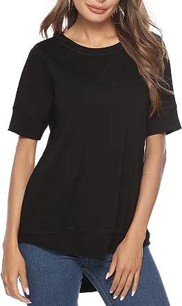 Gnpolo Womens Summer Tops Short Sleeve Crew Neck Plain T Shirts Tee T-Shirts Tshirts Blouses