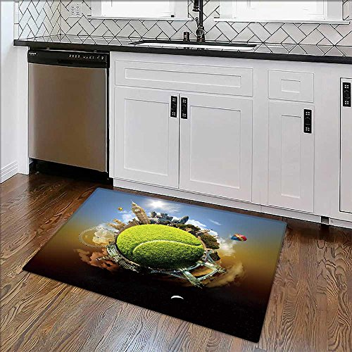 Thick Soft Plush Living Room Rug Tennis planet of London symbolic of London,UK,built on a tennis ball Easy Clean Resistant W34