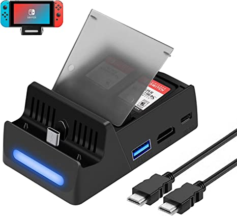HEYSTOP Switch Dock Base de Carga para Nintendo Switch con Cable HDMI,Switch Dock Puerto de Carga USB C, USB 3.0 y Puerto HDMI para Nintendo Switch con 4 Tiendas GameCard: Amazon.es: Electrónica