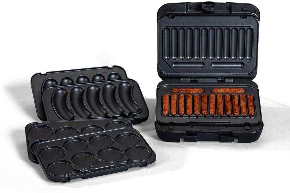 Johnsonville Sizzling Sausage Grill Plus – 3-in-1 Grill – Sear Sausages and Brats to Perfection – Removable Cooking Plates and Customized for Links, or Patties, Brats – Quick Cooking With Almost No Mess -Dishwasher Safe – Temperature Probe