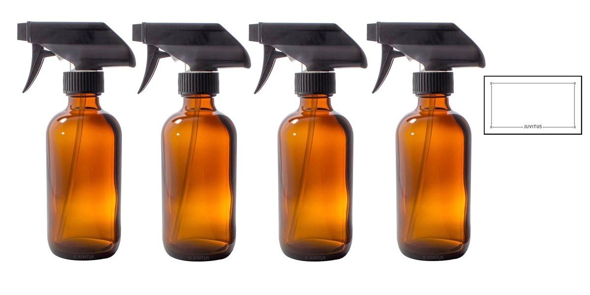 8 oz Amber Boston Round Thick Glass Trigger Spray Bottle + Label (4 Pack) Perfect for Home, Cleaning, Cooking, Essential Oils, DIY, Gifts