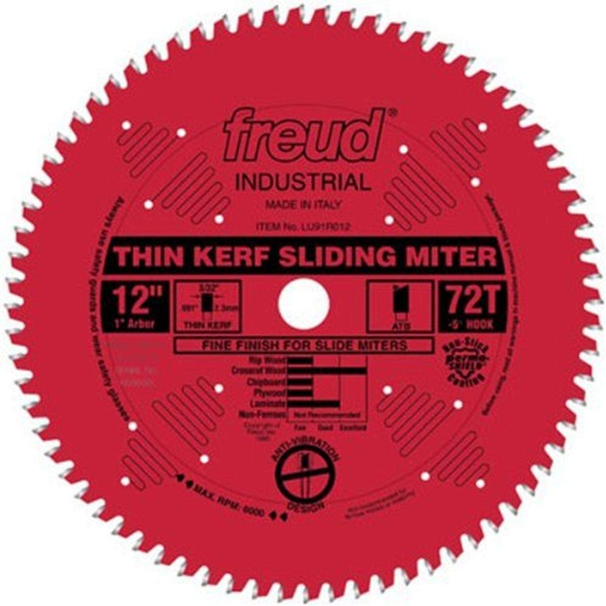 "Freud 12"" x 72T Thin Kerf Sliding Compound Miter Saw Blade"