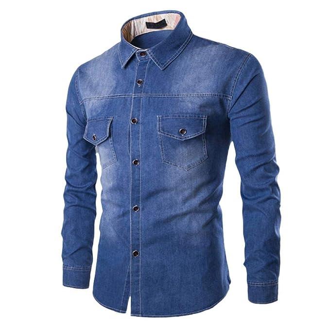 Camisas Casual Hombre Manga Larga, Covermason Blusa Superior de Manga Larga de algodón de otoño Moda Casual de los Hombres: Amazon.es: Ropa y accesorios