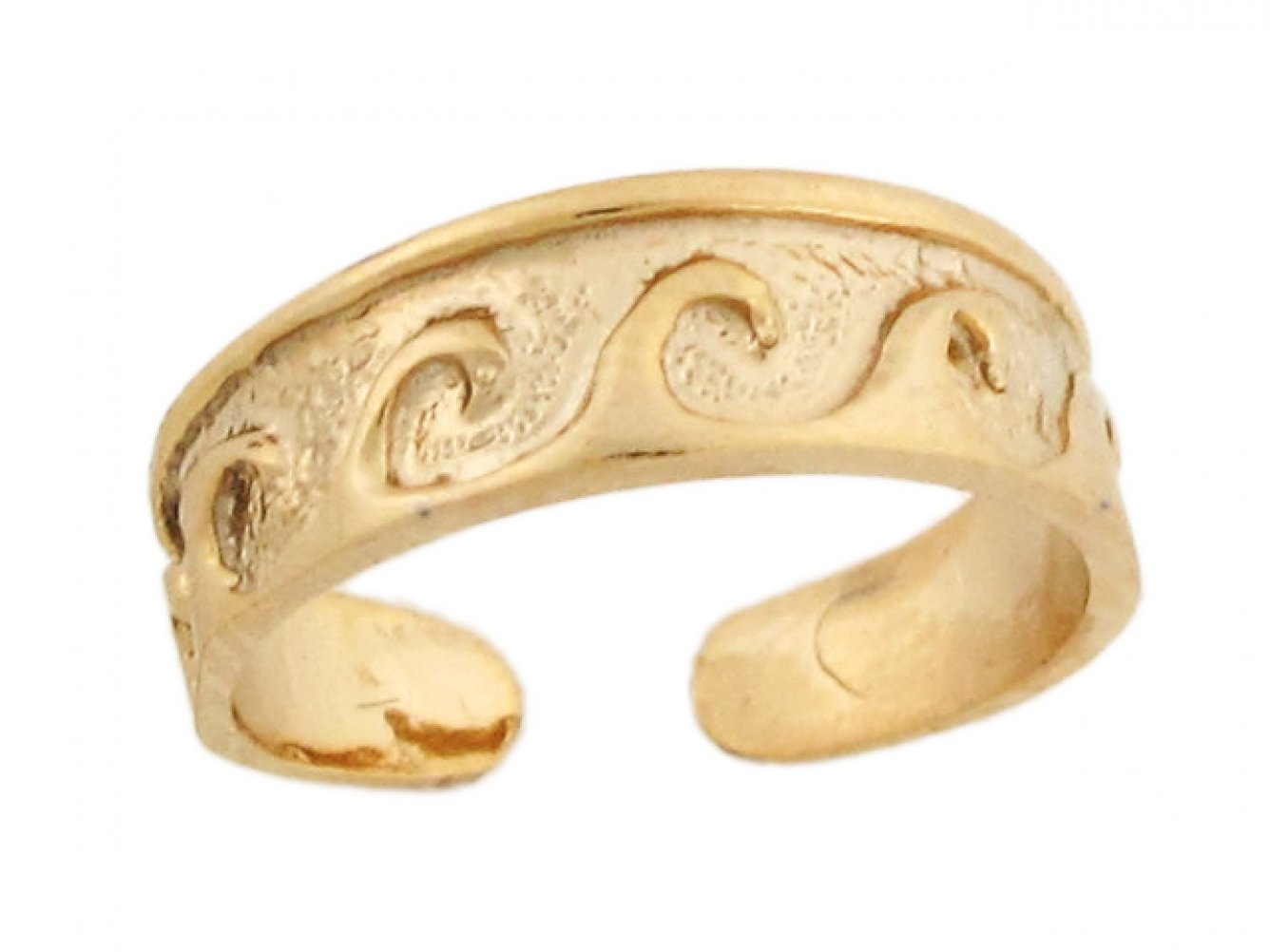 14k Yellow Real Gold Wave Band Designer Womens Toe Ring by Jewelry Liquidation (Image #2)