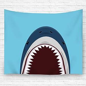 "txregxy Wall Hanging Tapestries Shark Open Mouth On Blue Decor Beach Towel Blanket Carpet 51.2""(H) x59.1(W)"