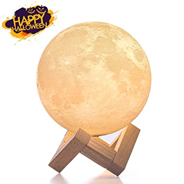 BRIGHTWORLD Moon Lamp, 3D Printing Lunar Lamp Night Light as Kids Women Girls Gift, USB Charging Touch Control Brightness Two Tone Warm Cool White 4.7IN (Upgraded Version)